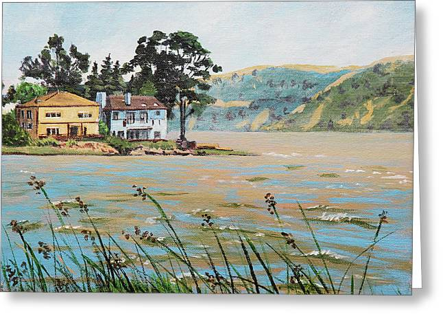 Bay Scenery With Houses Greeting Card