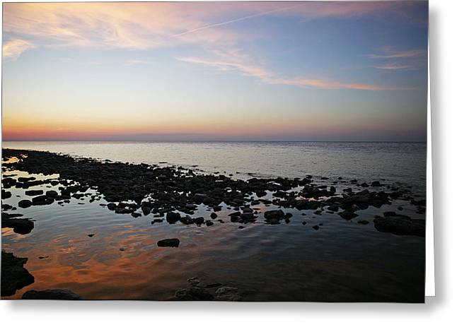 Bay Side Sunset Greeting Card
