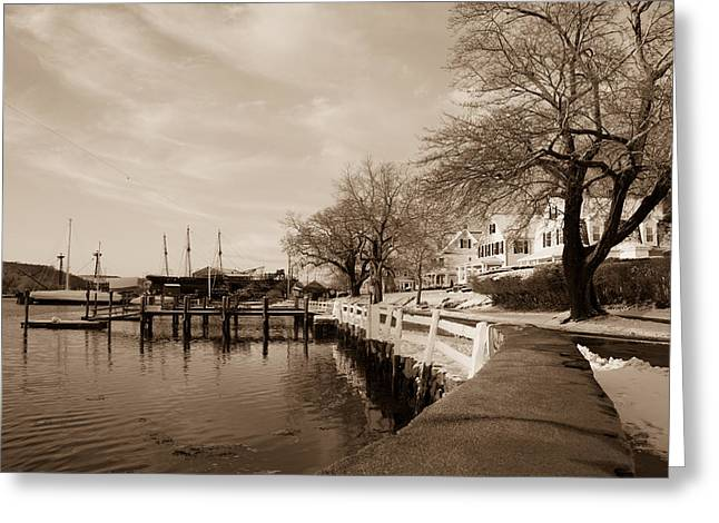 Bay Street In Winter - Mystic Ct Greeting Card