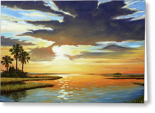 Bay Sunset Greeting Card by Rick McKinney