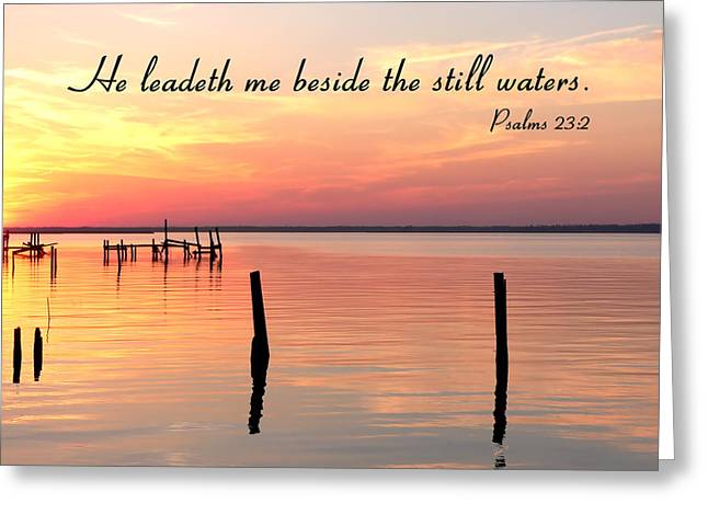 Bay Sunset Still Waters Psalm Greeting Card