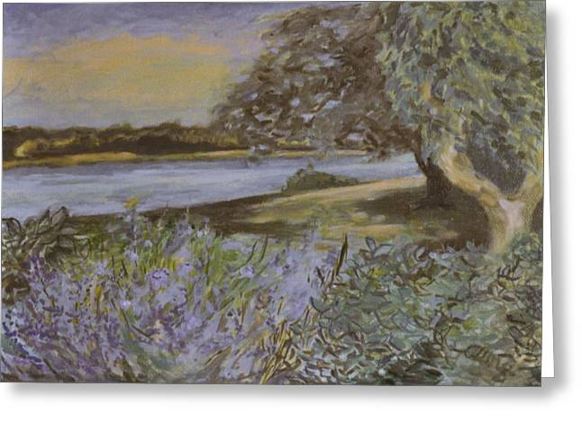 Bay View Lavender And Sage Greeting Card by T Aung