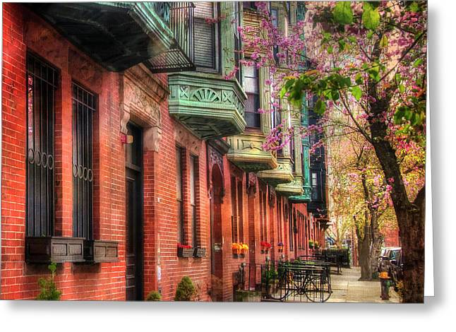 Bay Village Brownstones And Cherry Blossoms - Boston Greeting Card by Joann Vitali