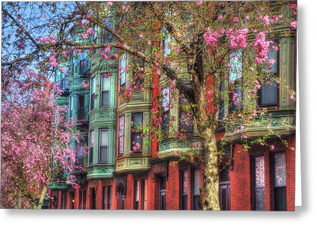 Bay Village Row Houses - Boston Greeting Card by Joann Vitali