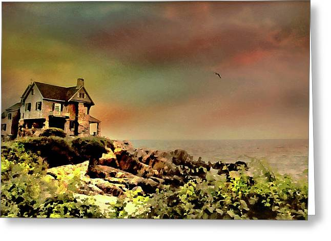 Bayberry Cove Cottage Greeting Card by Diana Angstadt