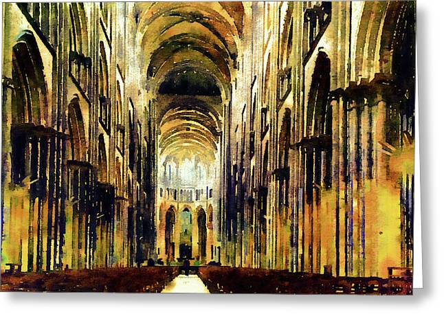 Bayeux Cathedral Golden Morning Greeting Card by Georgiana Romanovna
