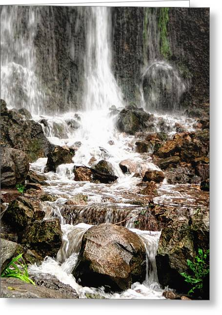 Greeting Card featuring the photograph Bayfront Park Waterfall by Lars Lentz