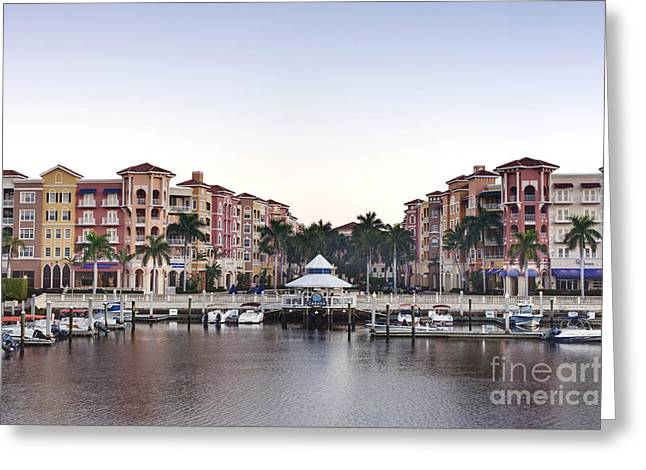 Bayfront Shopping Center And Marina Greeting Card by Rob Tilley