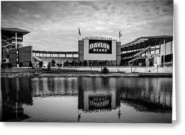 Baylor Bears Mclane Stadium Bw Greeting Card