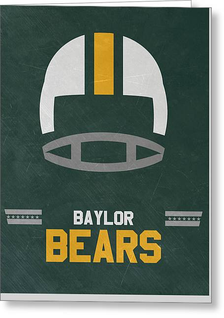 Baylor Bears Vintage Football Art Greeting Card by Joe Hamilton
