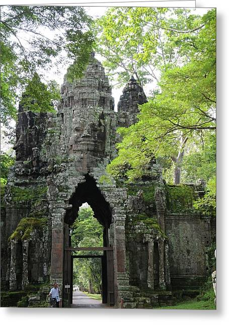 Gateway Greeting Cards - Bayon Gate Greeting Card by Marion Galt