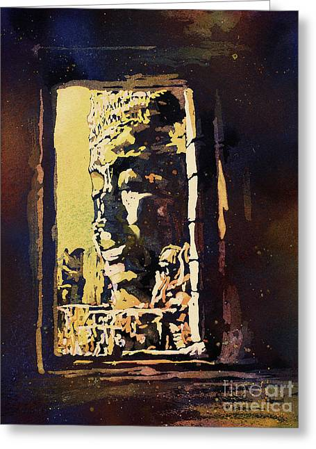 Greeting Card featuring the painting Bayon IIi- Cambodian Ruins, Angkor Wat by Ryan Fox