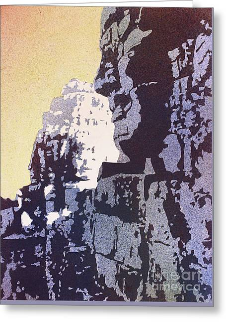 Greeting Card featuring the painting Bayon Temple- Angkor Wat, Cambodia by Ryan Fox