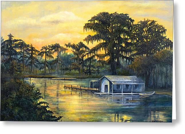 Cajun Greeting Cards - Bayou Sunset Greeting Card by Elaine Hodges