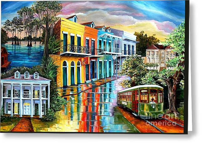 Bayou To The Big Easy Greeting Card by Diane Millsap