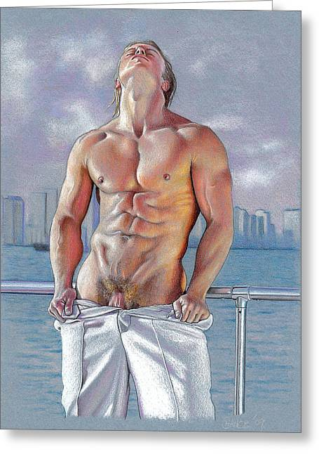 Drawing Color Pencils Drawings Greeting Cards - Bayside Greeting Card by Chance Manart