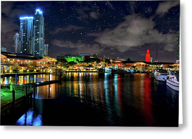 Greeting Card featuring the photograph Bayside Miami Florida At Night Under The Stars by Justin Kelefas