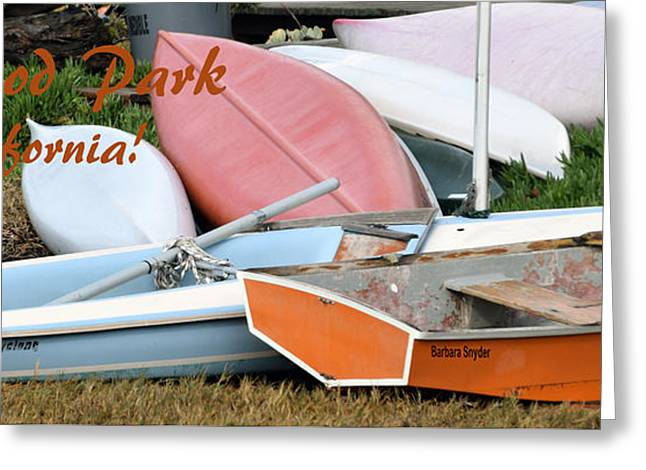 Baywood Park Boats And More Boats Greeting Card by Barbara Snyder