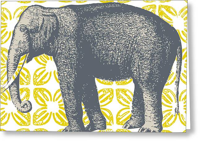 Bazaar Elephant Yellow Greeting Card by Thomas Paul