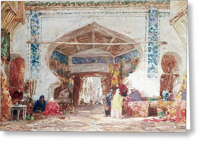 Bazaar In Constantinople Greeting Card by Felix Ziem