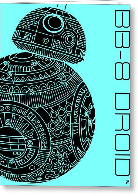 Bb8 Droid - Star Wars Art, Blue Greeting Card