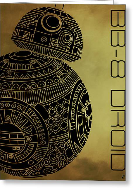 Bb8 Droid - Star Wars Art - Brown Greeting Card