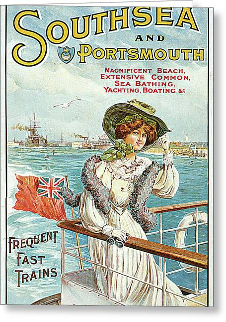 Southsea And Portsmouth Greeting Card by John Hutton Walker