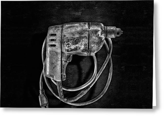 Bd Drill Motor Bw Greeting Card by YoPedro