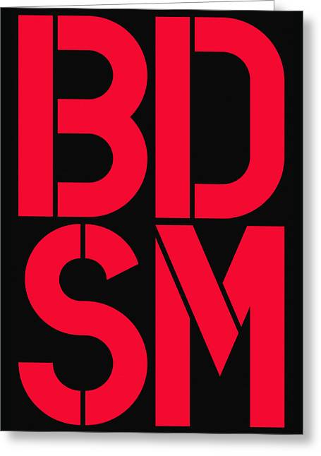 Bdsm Black And Red Greeting Card by Three Dots