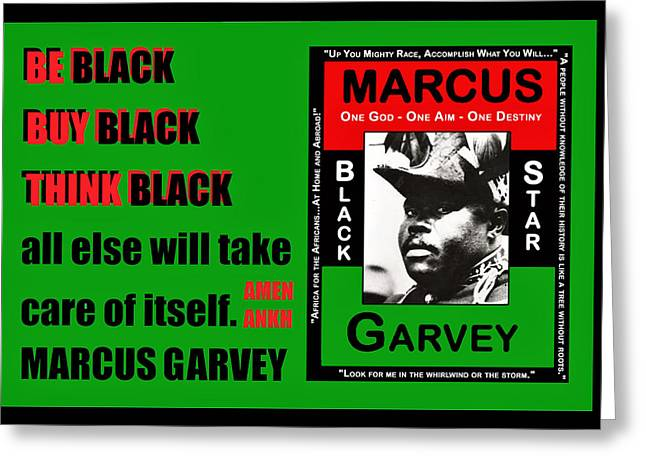 Be Black Garvey Greeting Card by Adenike AmenRa