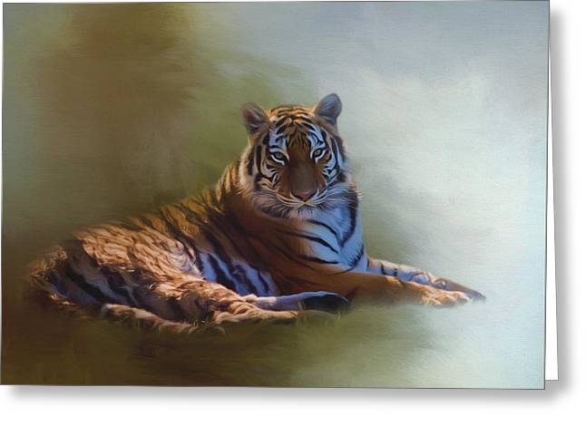 Be Calm In Your Heart - Tiger Art Greeting Card by Jordan Blackstone