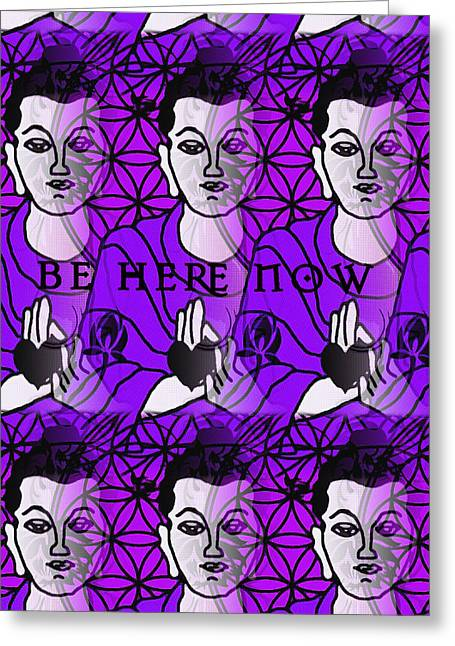 Be Here Now Greeting Cards - Be Here Now Buddha Greeting Card by Gia Simone