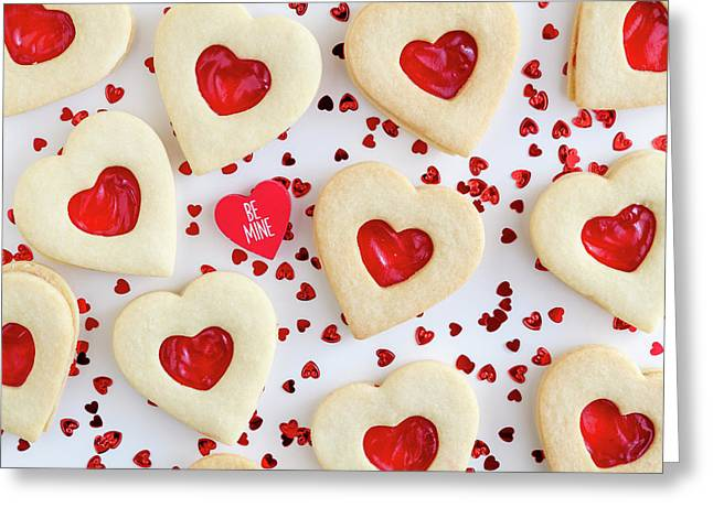 Be Mine Heart Cookies Greeting Card by Teri Virbickis