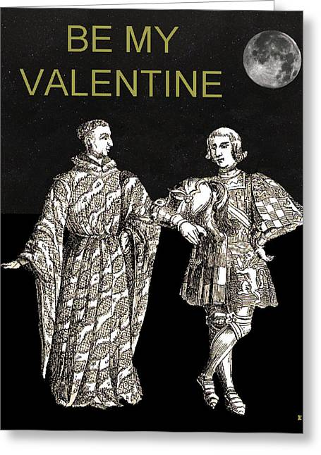 Be My Valentine Two Men Black Background Greeting Card by Eric Kempson