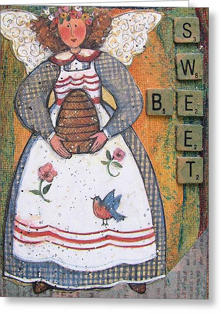 Greeting Card featuring the painting Be Sweet Altered Art Mixed Media by Barbara Giordano