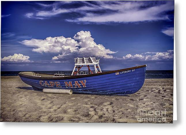 Beach And Lifeboat Greeting Card