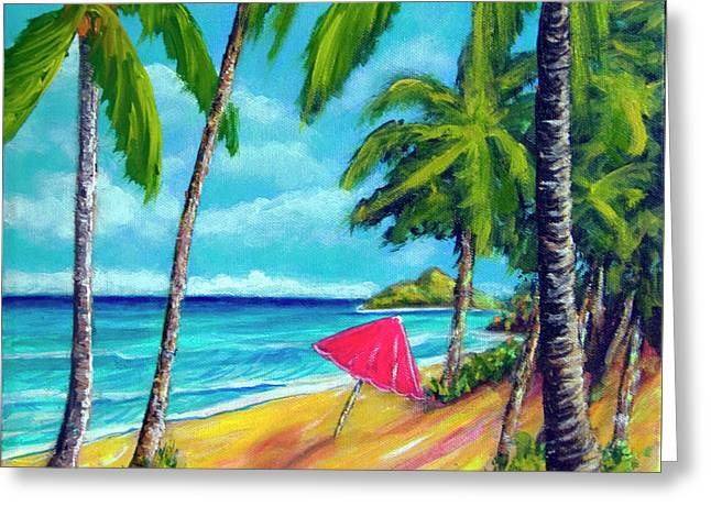 Beach And Mokulua Islands  #368 Greeting Card by Donald k Hall