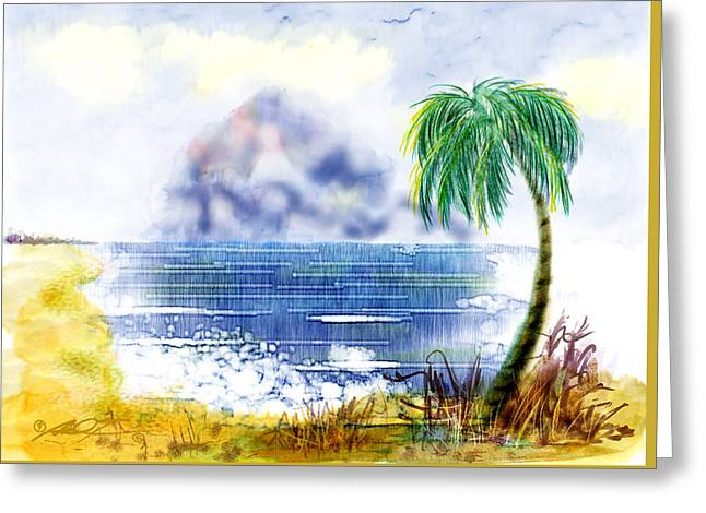 Beach And Palm Tree Of D.r.  Greeting Card