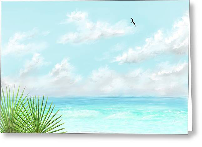 Greeting Card featuring the digital art Beach And Palms by Darren Cannell