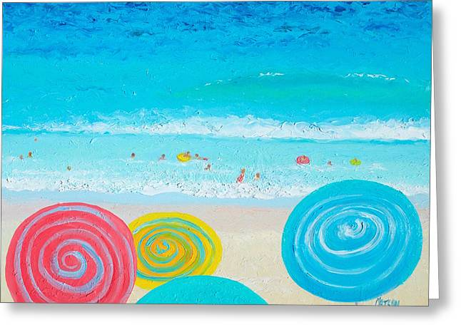 Beach Art - Lollipop Umbrellas Greeting Card