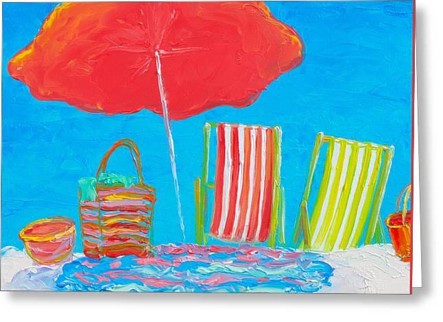 Beach Art - The Red Umbrella Greeting Card