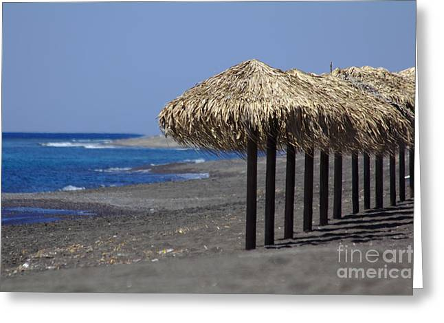 Greeting Card featuring the photograph Beach At Perivolos by Jeremy Hayden