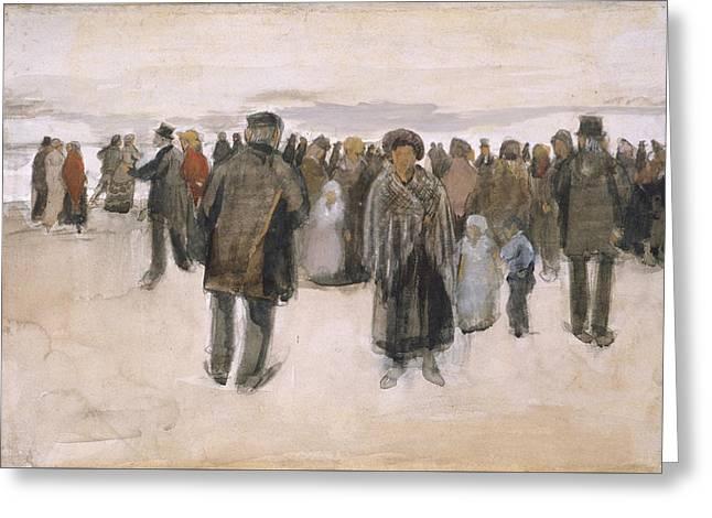Beach At Scheveningen 1882 Greeting Card by Vincent Van Gogh