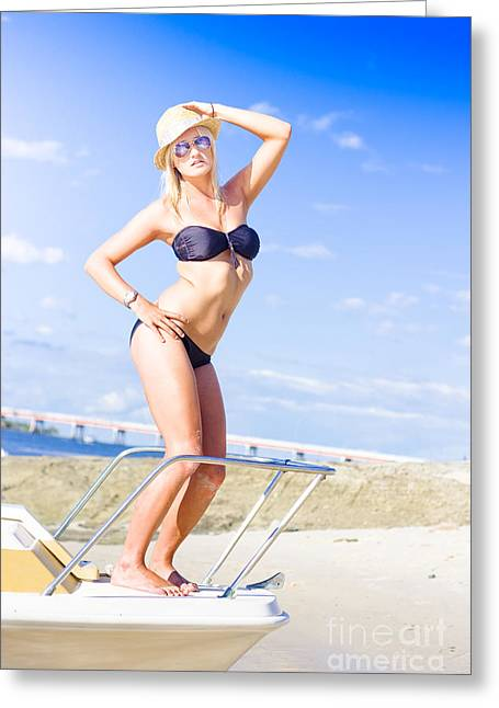 Beach Babe On Cruise Boat Greeting Card by Jorgo Photography - Wall Art Gallery