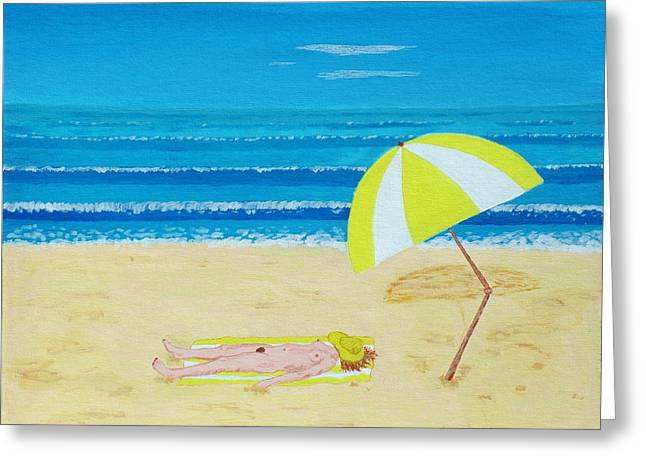 Beach Babe With All She Needs Greeting Card by Alex Mortensen