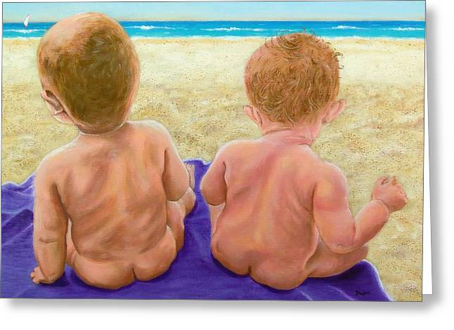 Beach Babies Greeting Card by Susan DeLain