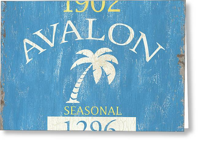 Beach Badge Avalon Greeting Card by Debbie DeWitt