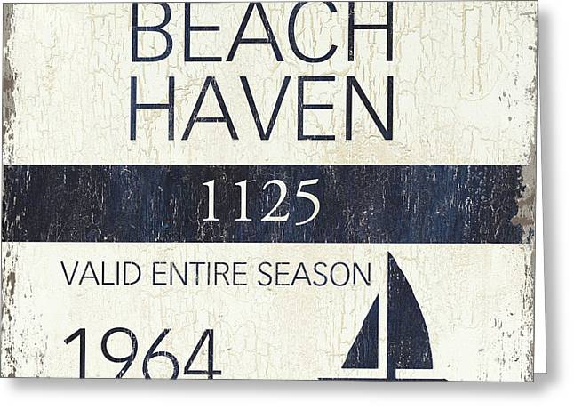 Beach Badge Beach Haven Greeting Card by Debbie DeWitt