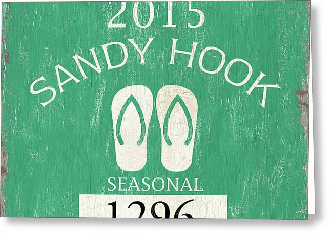Beach Badge Sandy Hook Greeting Card by Debbie DeWitt
