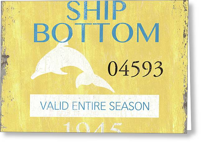 Beach Badge Ship Bottom Greeting Card by Debbie DeWitt